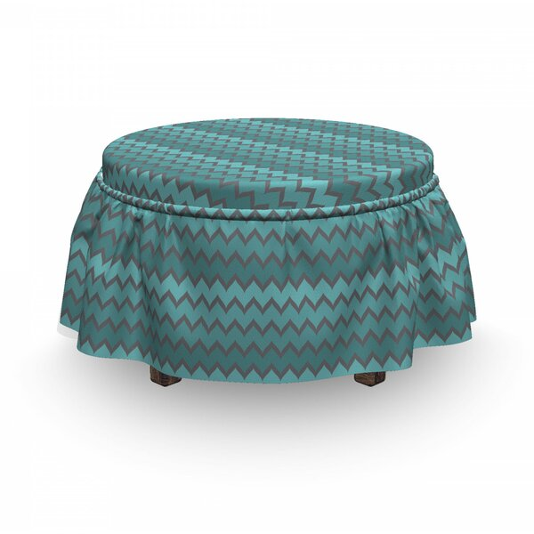 Zigzags In Shades Of Ottoman Slipcover (Set Of 2) By East Urban Home