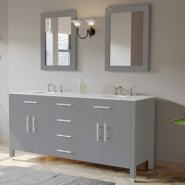 Joycelyn 72 Double Bathroom Vanity Set with Mirror