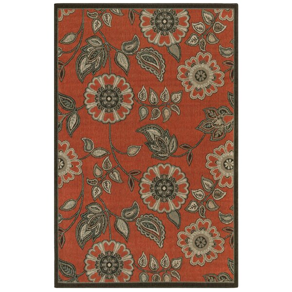 Shannen Floral Vine Orange Indoor/Outdoor Area Rug by Charlton Home Charlton Home