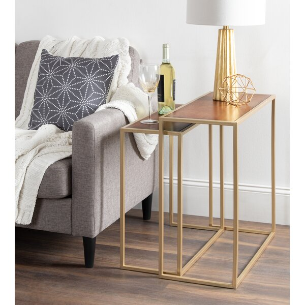 Diboll Metal And Wood 2 Piece Nesting Tables By Kate And Laurel