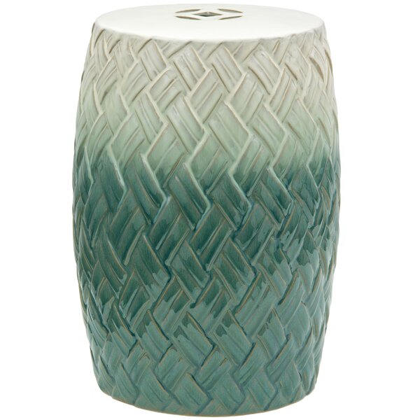 Carved Woven Design Porcelain Garden Stool by Oriental Furniture