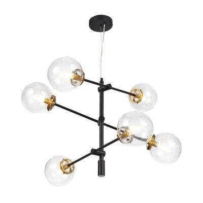6 Light Sputnik Drum LED Chandelier with Hand Blown Glass Accents
