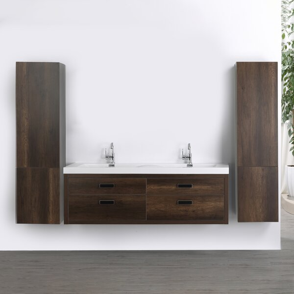 63 Wall Mounted Double Bathroom Vanity Set by Streamline Bath