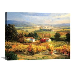 Hazy Tuscan Farm' by S. Hinus Painting on Wrapped Canvas by Global Gallery