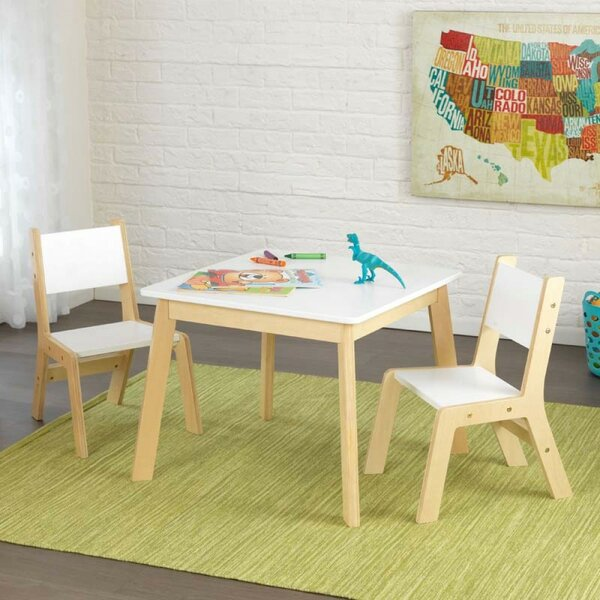 Modern Kids 3 Piece Square Table And Chair Set By Kidkraft.