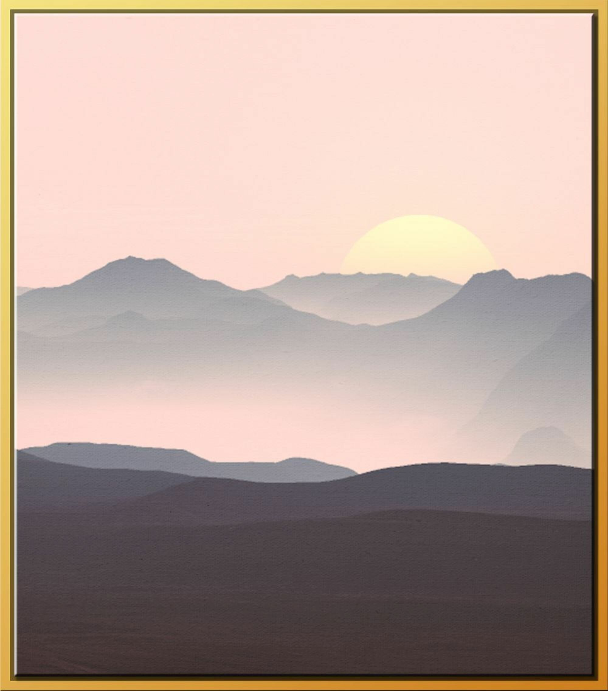 Ivy Bronx Navy Pink Sunset Ii Framed Graphic Art On Canvas Wayfair