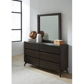 Union Rustic Saucedo 6 Drawer Double Dresser With Mirror Wayfair