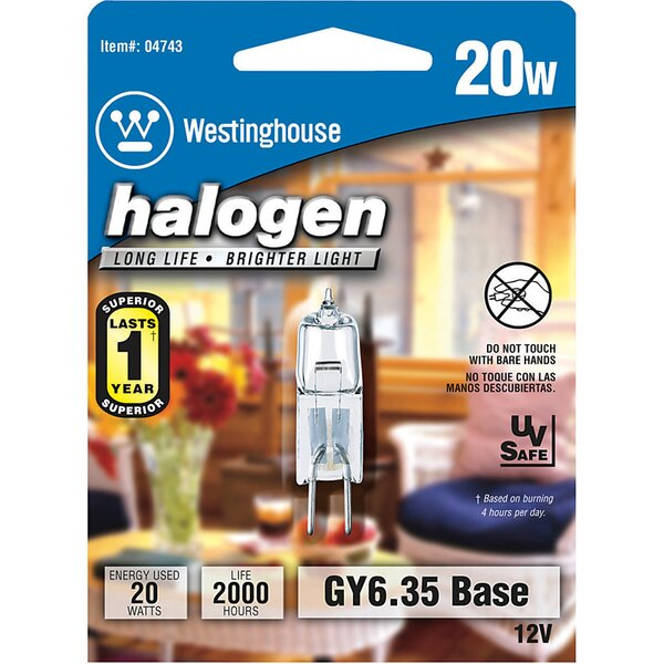 20W GY6.35 Dimmable Halogen Edison Capsule Light Bulb by Westinghouse Lighting