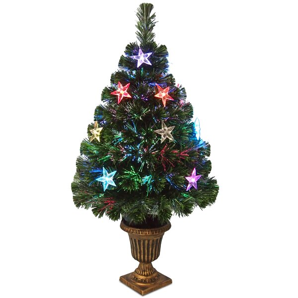 Fiber Optics Evergreen 3 Green Fireworks Artificial Christmas Tree with Multicolor LED Lights with Urn Base by The Holiday Aisle