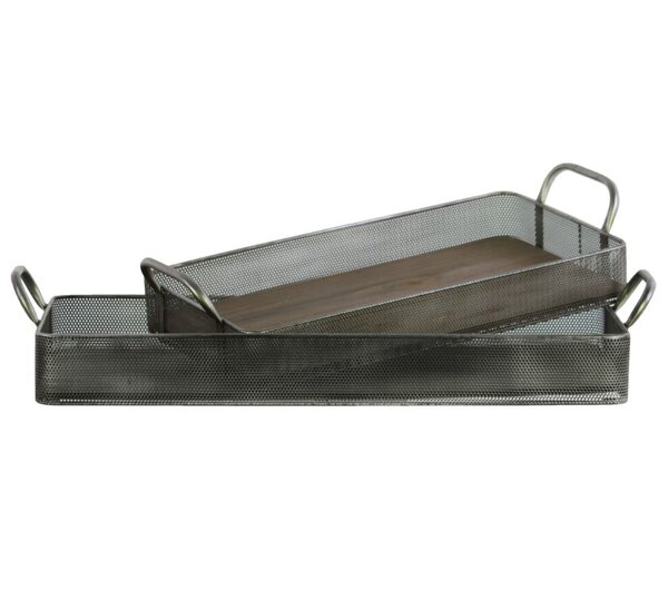 Drake Wood Surface and Metal Side Rectangular 2 Piece Accent Tray Set by Williston Forge