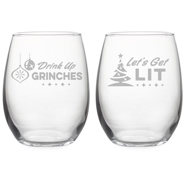 Holiday Spirits 2 Piece Glass 21 oz. Stemless All Purpose Glass Set by The Holiday Aisle