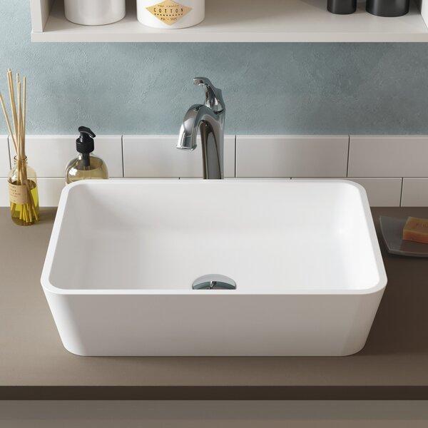 Natura & Arlo Ceramic Rectangular Vessel Bathroom Sink with Faucet