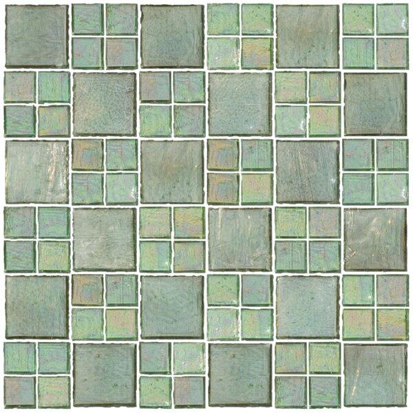 Signature Line Transparent 21 x 21 Glass Mosaic Tile in Green by Susan Jablon