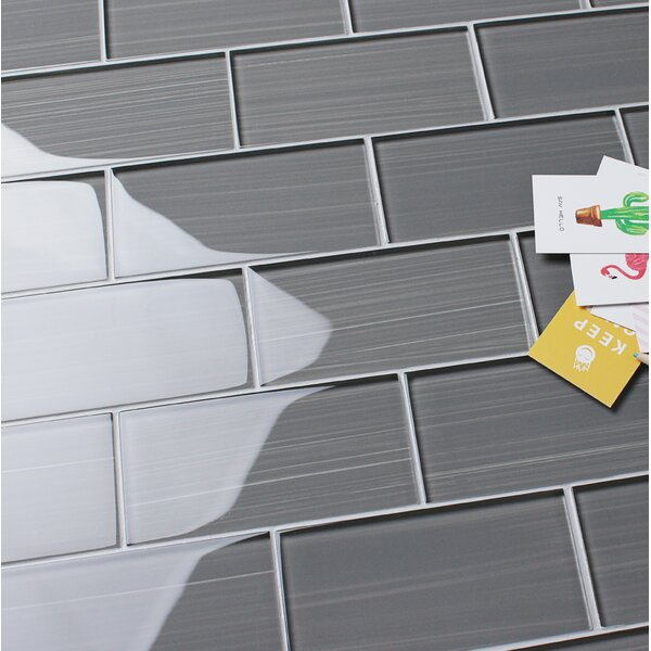 Hand Painted Series 3 x 6 Glass Mosaic Tile in Gray by WS Tiles