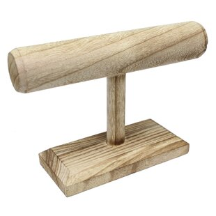 Comparison Natural Wood Single T-Bar Jewelry Stand By Ikee Design