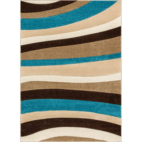 Rad Wave Blue/Brown Area Rug by Well Woven
