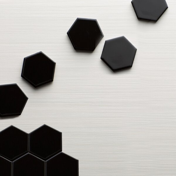 Retro Hexagon 2 x 2 Porcelain Mosaic Tile in Glossy Black by EliteTile