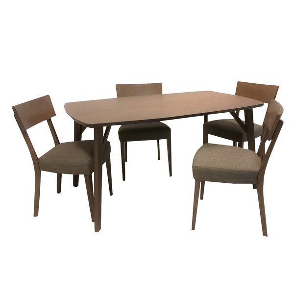 Crompton 5 Piece Solid Wood Dining Set by George Oliver