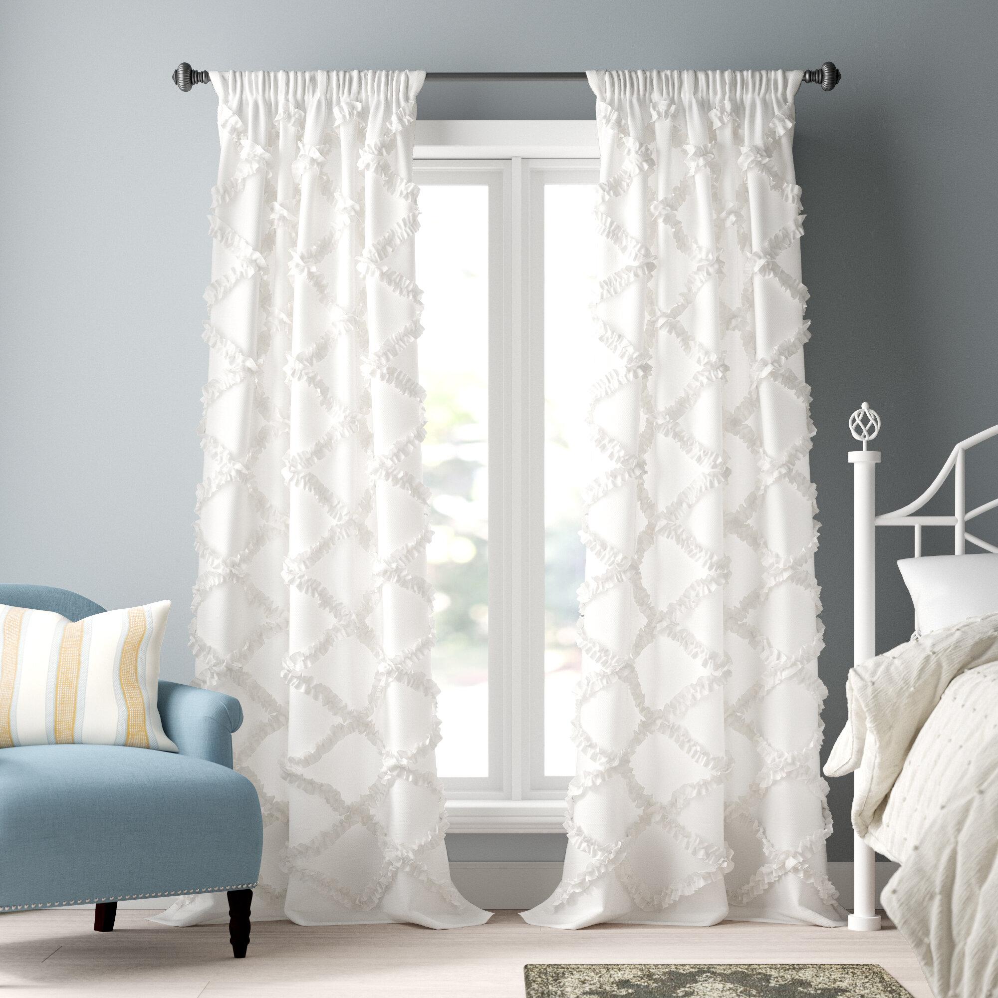 Lark Manor Ornellas Geometric Semi Sheer Thermal Rod Pocket Curtain Panel Reviews Wayfair Ca