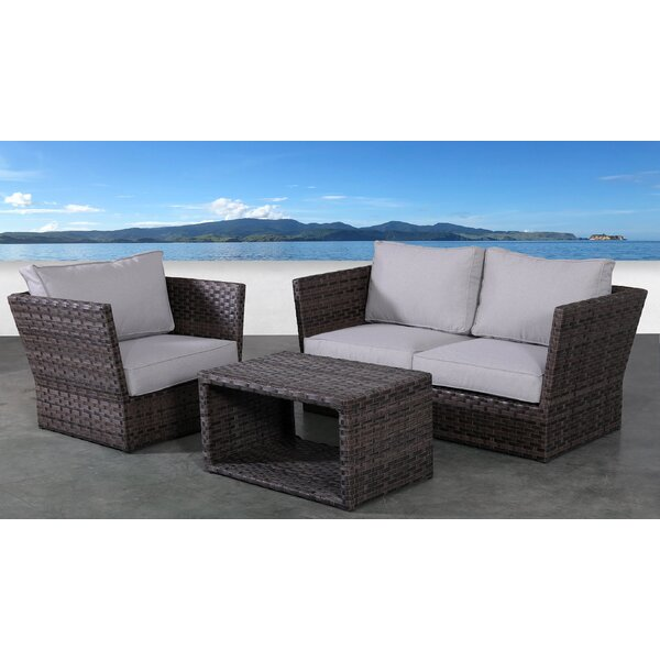 Cochran 4 Piece Rattan Sofa Seating Group with Cushions by Rosecliff Heights Rosecliff Heights