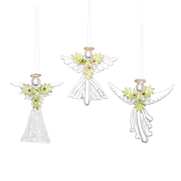 3 Piece Spun Glass Holly Angels Hanging Figurine Set by The Holiday Aisle
