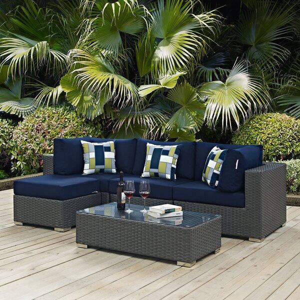 Tripp 5 Piece Rattan Sunbrella Sectional Set with Cushions by Brayden Studio