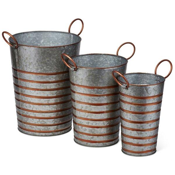 Amazing 3-Piece Iron Pot Planter Set by Benzara