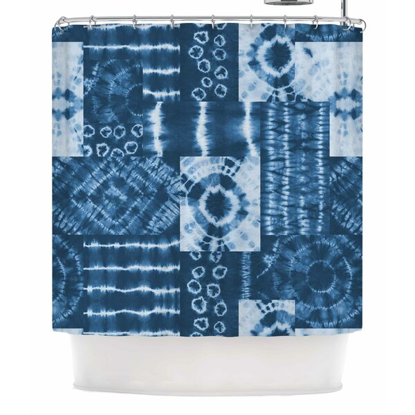 Jacqueline Milton Shibori Patchwork Abstract Shower Curtain by East Urban Home