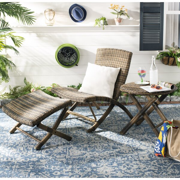 Kingpalm Patio Chair with Ottoman by Bay Isle Home
