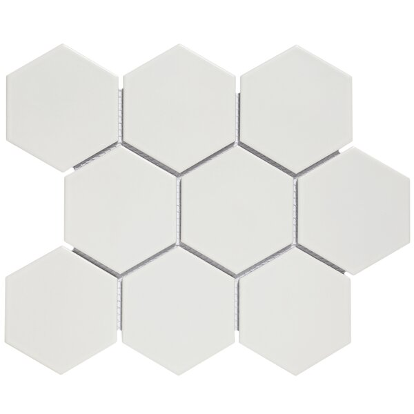Barcelona 4 x 4 Porcelain Mosaic Tile in Matte White by The Mosaic Factory