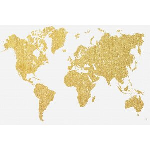 'Gold Map' Graphic Art on Wrapped Canvas by East Urban Home