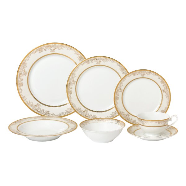 La Luna Bone China 28 Piece Dinnerware Set, Service for 4 by Lorren Home Trends