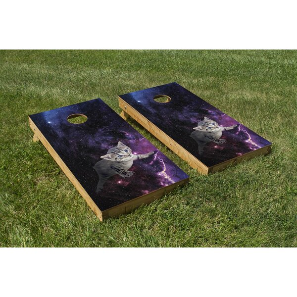 Kitten in Space Cornhole Board (Set of 2) by The Cornhole Crew