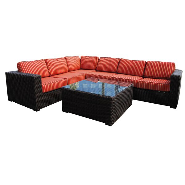 Woodham 5 piece Rattan Sectional Set with Sunbrella Cushions by Red Barrel Studio
