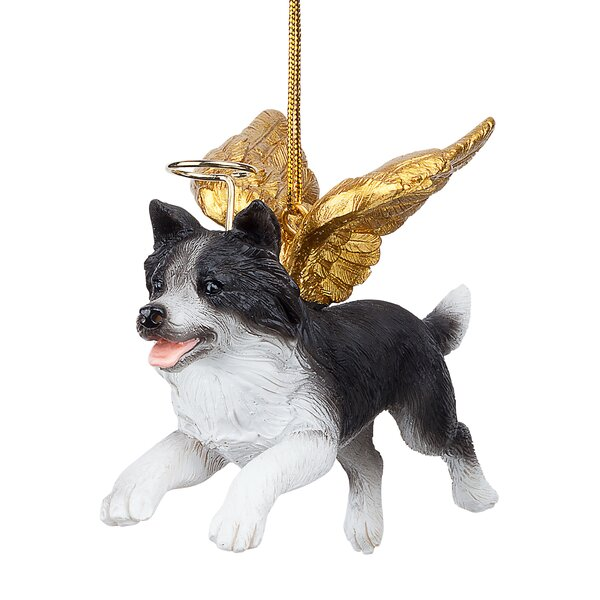 Border Collie Dog Angel Hanging Figurine by Design