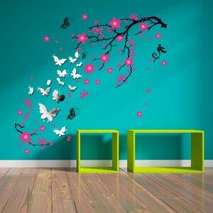 Mirror Butterflies with Pink Blossom Flowers Wall Sticker Set