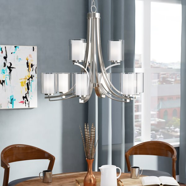 Demby 9-Light Shaded Tiered Chandelier by Ebern Designs Ebern Designs
