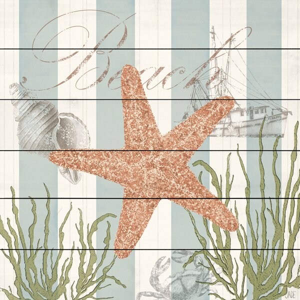 Gold Starfish Painting Print on White Wood by Marmont Hill
