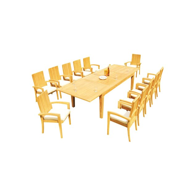 Matamoros 13 Piece Teak Dining Set by Rosecliff Heights