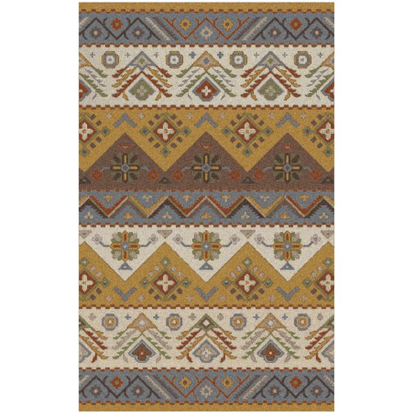 Co Bohemian Hand-Tufted Wool Caramel/Light Gray Area Rug by Loon Peak
