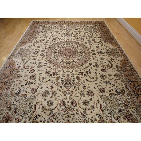 Shanelle Living Room Hand-Knotted Silk Ivory Area Rug by Astoria Grand