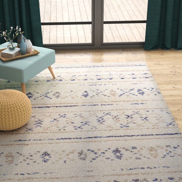 Kimberly Novia Ivory/Navy Blue Area Rug by Langley Street