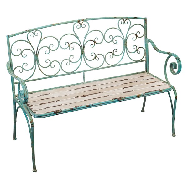 Fleur de Lis Wrought Iron Garden Bench by Regal Art & GiftFleur de Lis Wrought Iron Garden Bench by Regal Art & Gift