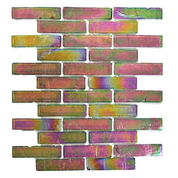 Bamboo 1 x 4 Glass Mosaic Tile in Green Pink by Abolos