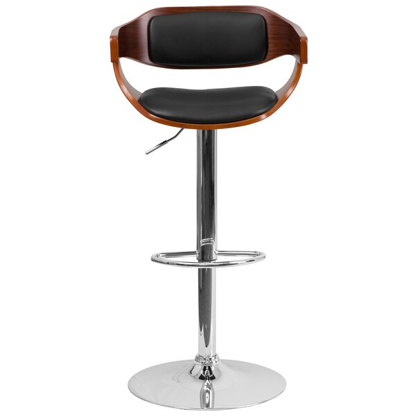 Beau Adjustable Height Swivel Bar Stool by George Oliver