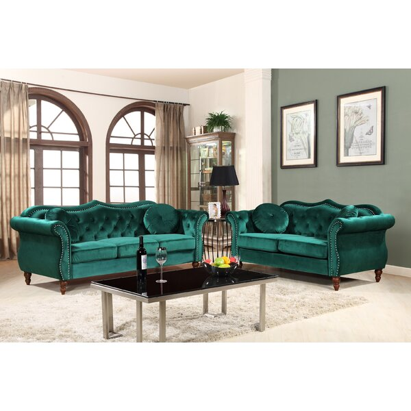 Carbon Classic Nailhead Chesterfield 2 Piece Livin