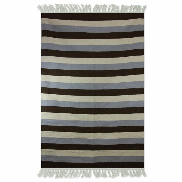 Bridlewood Bold Horizon Dhurrie Hand-Wooven Wool Black/Gray/Beige Area Rug by Bay Isle Home