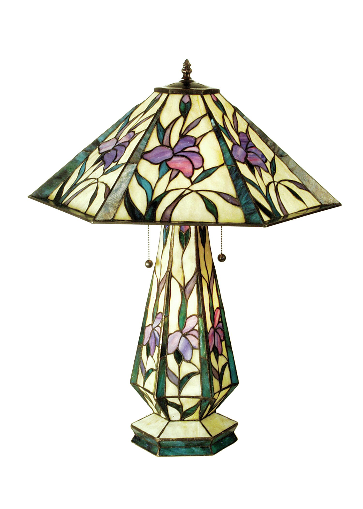 Meyda Tiffany Iris Hex Lighted Base 25 Table Lamp Wayfair