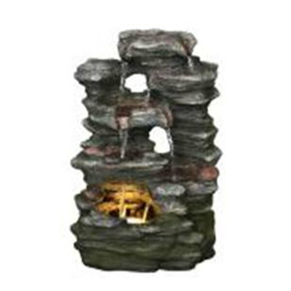 Resin Multi-Level Stone Fountain with Light by Hi-Line Gift Ltd.