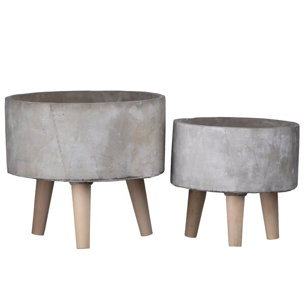 Bogle Round 2 Piece Cement Pot Planter Set by George Oliver